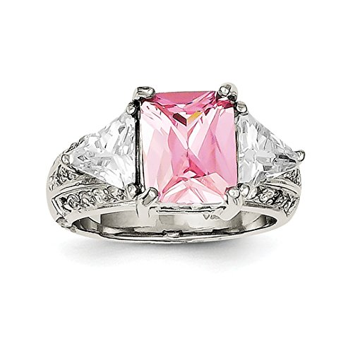 ICE CARATS 925 Sterling Silver 10x8mm Pink Clear Cubic Zirconia Cz Band Ring Size 7.00 Fine Jewelry Ideal Mothers Day Gifts For Mom Women Gift Set From Heart (Ice Heart Pink Ring)