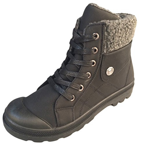 Refresh Women's Casper-01 Fleece Lined Lace-Up Sneaker Style Casual Combat Boots,6 B(M) (Lace Up Lined Sneakers)