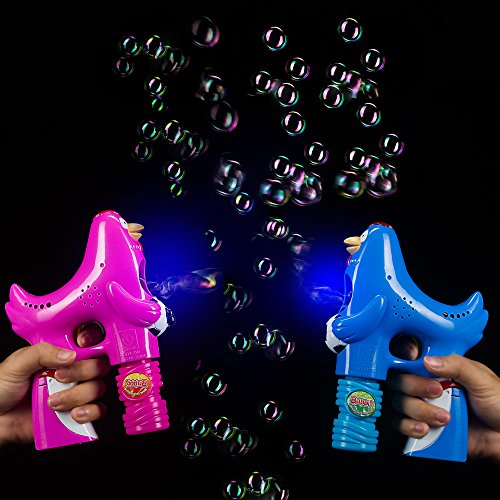 Fun Central BC793, 2 Pcs, 5 Inches LED Rooster Bubble Gun Blue and Pink for Kids, Led Bubble Gun Set, Bubble Gun Toy Kit
