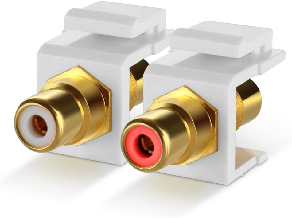White TNP RCA Keystone Jack Insert Connector Socket Modular Adapter Snap in Female 2RCA Port Gold Plated Inline Coupler for Wall Plate Outlet Panel Mount 1 Pack 2 Channel Audio Red