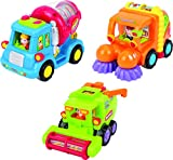 Friction Toys For Toddlers TG641 (Set Of 3) Friction Powered Push & Go Cement Mixer Truck / Street...