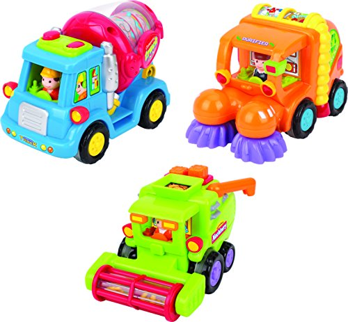 Friction Toys For Toddlers TG641 (Set Of 3) Friction Powered Push & Go Cement Mixer Truck / Street Sweeper / Harvester Truck With Functions – Friction Car Toys By ThinkGizmos (Trademark Protected)