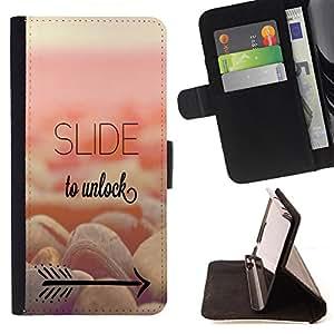 - Slide to unlock - - Monedero PU titular de la tarjeta de cr?dito de cuero cubierta de la caja de la bolsa FOR Sony Xperia Z1 L39 Retro Candy