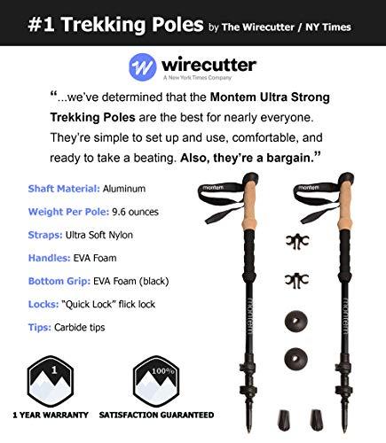 Montem Ultra Strong Trekking Poles, Black (Matte) , One Pair