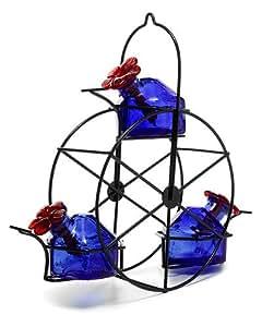 Parasol FW3B Bouquet FERRIS WHEEL Blown Glass Hummingbird Feeder - Blue
