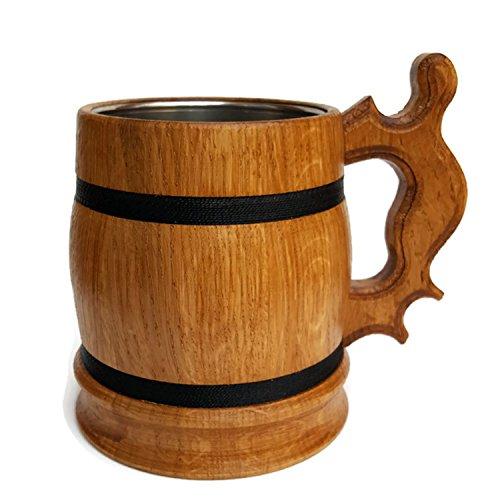 Oaken Holz Bier Becher Holz Stein Handgefertigten Bierkrug Bier Zubehör Personalisierte Individuelle Tasse Geschenk handgefertigt Eiche UK Schneller Versand natur