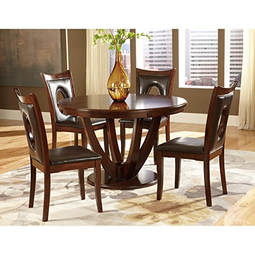 Valinda 7 Piece 48 inch Round Dining Table Set in Rich Cherry - Table, 6 Chairs