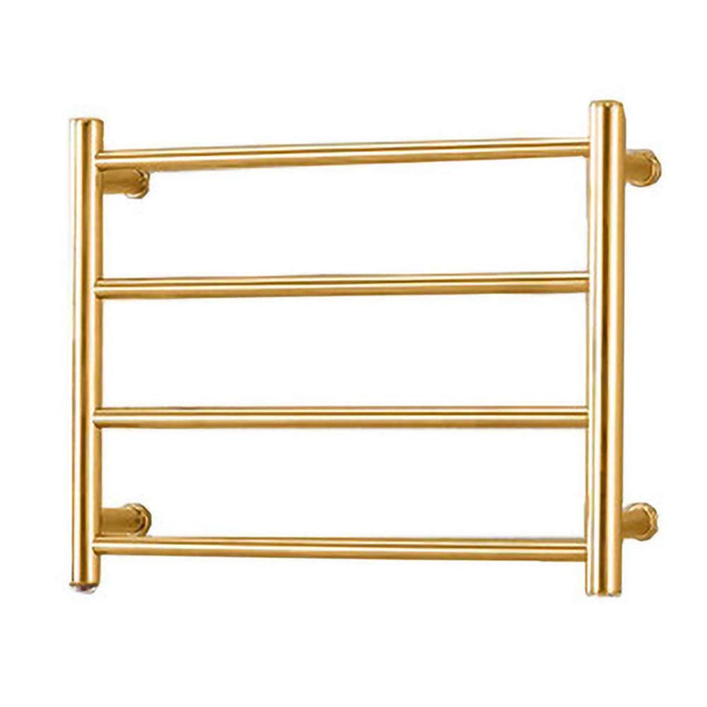 BILLY'S HOME Towel Warmer Drying Rack, Electric 304 Stainless Steel Tower Warmer with 4 Heated Bars Wall-Mounted for Bathroom Gold 450×540×125mm,Plugin