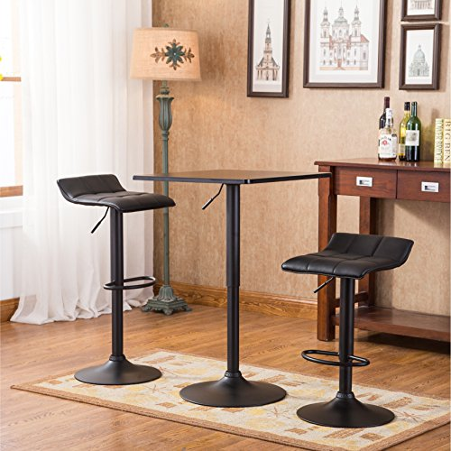 Adjustable 2 Leg Table - Roundhill Furniture Belham Black Square Top Adjustable Height with Black Leg and Base Metal Bar Table and 2 Swivel Black Bonded Leather Adjustable Bar Stool Bar Sets