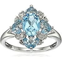 wanmanee Womens Aquamarine & White Topaz 925 Silver Rings Wedding Engagement Cocktail (8)