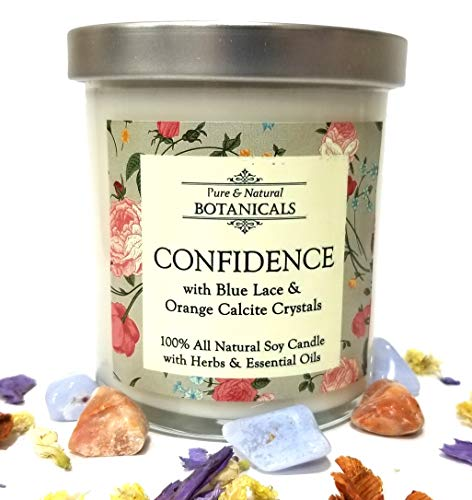Confidence Pure & Natural Soy Candle 8.5 oz 100% Natural & Non Toxic with Crystals, Helichrysum, Rose and Bay Herbs & Essential Oils for Courage, Self-Esteem & Anxiety Wiccan Pagan & Spirituality