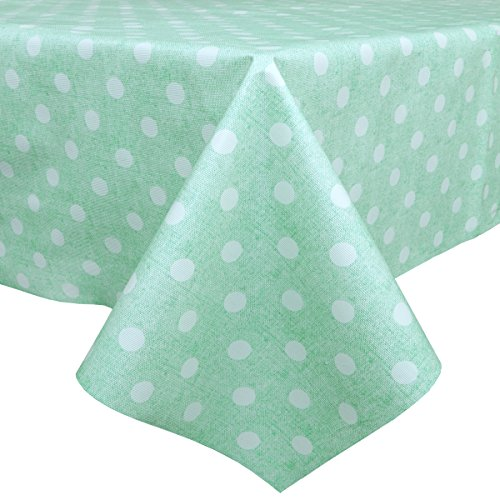 LEEVAN Heavy Weight Vinyl Rectangle Table Cover Wipe Clean PVC Tablecloth Oil-proof/Waterproof Stain-resistant/Mildew-proof (54'' x 72''-140x185 cm, Teal Polka Dot)