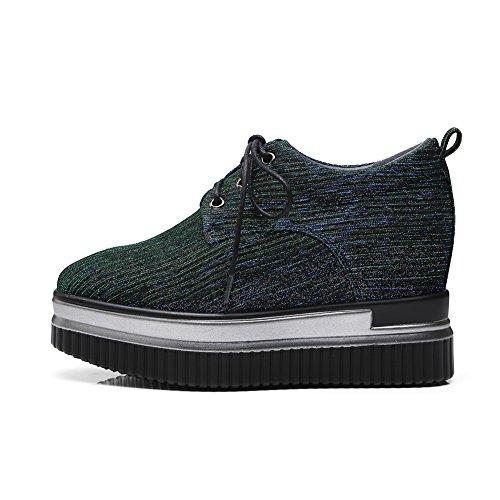 Damen KJJDE Green Schuhe Plateauschuhe Creepers Plateau Atmungsaktives 38 Q1408 WSXY Muster Keilabsatz 55Hnxqwr