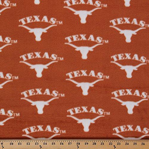 Fleece College University of Texas Longhorns Fleece Fabric Print By the Yard - Orange (Fabric Longhorns Texas)