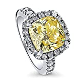 BERRICLE Rhodium Plated Sterling Silver Cushion Cut Cubic Zirconia CZ Halo Engagement Ring Size 10