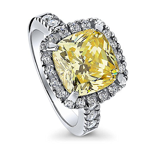 BERRICLE Rhodium Plated Sterling Silver Canary Yellow Cushion Cut Cubic Zirconia CZ Statement Halo Engagement Ring 6.12 CTW Size 6
