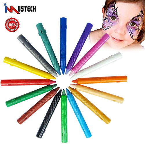 iMustech Face Paint Crayons, 16 Cols Face Painting Pencils for Kids, Washable Body Pencils Paint Kit, Non Toxic Face Painting Pens, Safe Face Paint Makeup Kit for Carnival, Halloween