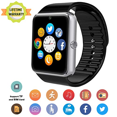 TB04 Bluetooth Smartwatch,Fitness Tracker Smart Watches with Camera SIM SD Memory Card Slot Touch Screen Wirst Watch Compatible for Android Phones iOS iPhone Samsung Men Women Kids ()