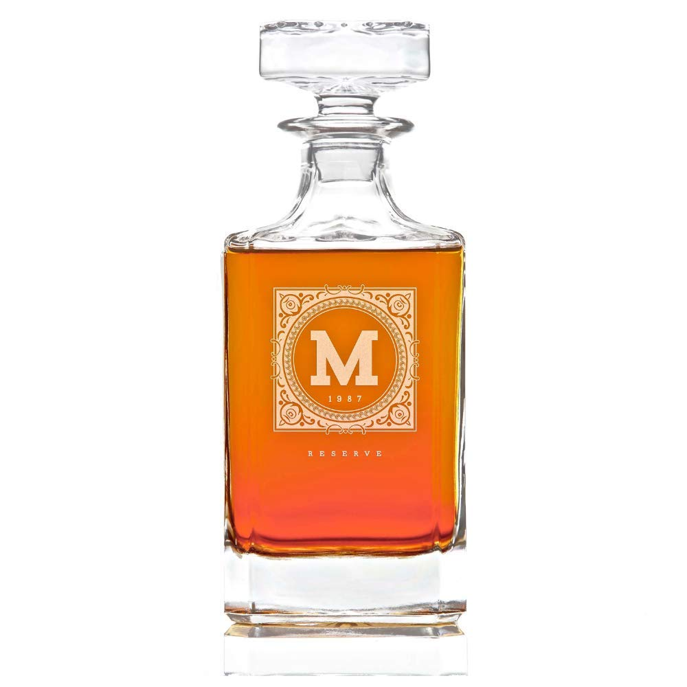 Personalized Whiskey Decanter Lead Free Whisky Bottle, 28 oz : The Heirloom by Swanky Badger