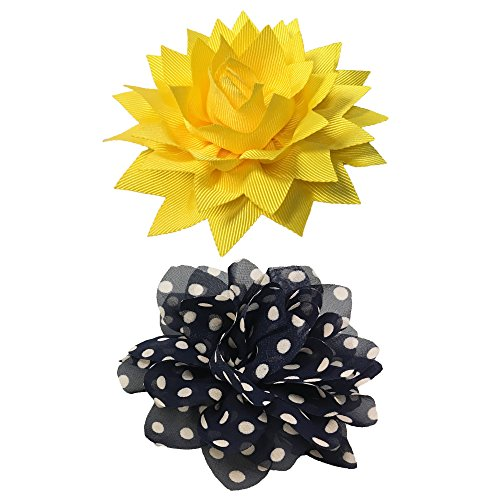 Blueberry Leather - Bow & Arrow Pet Dog Collar Accessories, Two Dog Collar Flowers, Slide On Attachment, Yellow and Black Dot