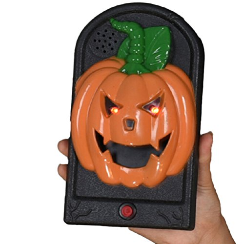 TINKSKY Halloween Doorbell Talking Scary Horror Modeling Sounds for Party Bar Door Decorations Kids Gift Toys (Orange Pumpkin)]()