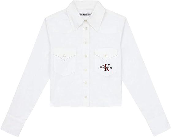 Calvin Klein Camisa Cropped Satin Mujer Blanco M Blanco: Amazon.es: Ropa y accesorios