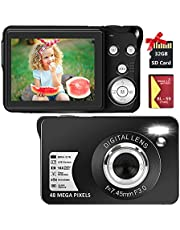 $58 » Digital Camera 2.7K 48 Mega Pixels 2.7 Inch HD Camera Rechargeable Mini Camera Students Camera Pocket Camera Digital Camera with 16x Digital Zoom Compact Camera for Beginner(32GB SD Card Included)