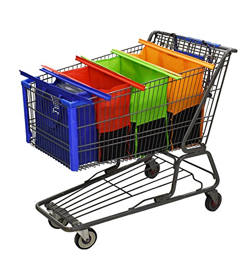 Shopping Cart Trolley Bags by: Modern Day Living - 4 Reusable Grocery Bags with Insulated Cooler Bag - Easy to Use and Heavy Duty - Eco Friendly (Trolley Service Food)