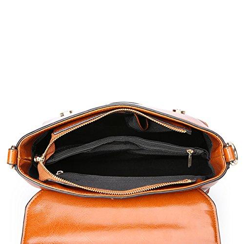 Q0865 Shoulder Handbags Pockets Dissa Soft Women Leather Multiple Bag brown nf4nWYRH