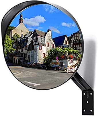 Kertou Panoramic Mirror Security Curved Convex Road Mirror Traffic Security Blind Spot Convex Driveway Mirror 30CM with Adjustable Fixing Bracket