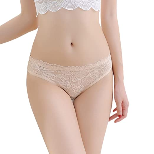 368f0bc85 Amazon.com  Elogoog Hot Sale 2018 Sexy Lace Underwear for Women Seamless  Soft Low Waist Panties Cotton Breathable Briefs (Beige