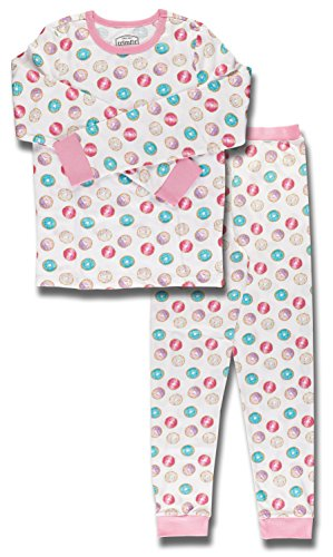 Trimfit Big Girls' Organic Cotton 2-Piece Long Sleeve Dreamwear Pajama Set, Doughnuts, L (10/12)