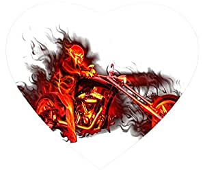 Flame Skull Heart Shaped Gaming Mouse Mat Motorcycle by runtopwell