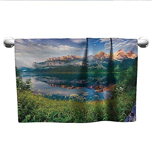Bensonsve Bath Towel Mountain,Sunny Summer Morning on Lake Austrian Alps Crystal Mirroring Water Fairy Season,Multicolor,t Shirt Towel for Curly Hair