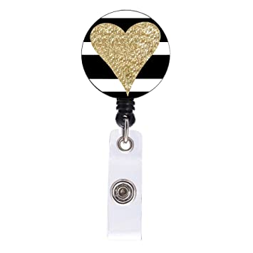 Cute Love Heart Badge Holder Reel Clip Retractable Badge Reel Holder with  Alligator Clip for Cute Girls, Women, Nurses, Teachers, Long 24 inch Cord