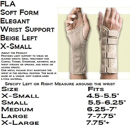 FLA Orthopedics 22-5611SBEG Soft Form Elegant Wrist Support Left Beige XS by Florida Orthopedics