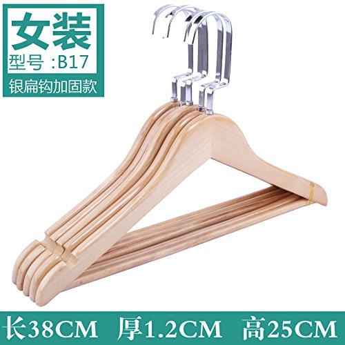 SHRCDC Natural Wood/Hanger 10Pack/Non-Slip(33-44Cm)/Reinforcement/Beige/Brown/Adult/Shirt/Pants/Hotel/For Hanger,10,G38Cm