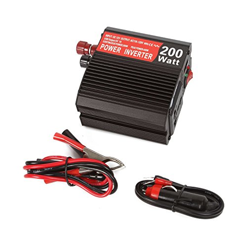 [autvivid 200W Power Inverter DC 12V to AC 110V with Battery Clamps USB Socket Plug] (Plug And Socket Costumes)