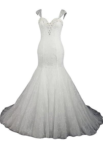 sunvary Sweetheart Cuello Capsleeves de sirena vestido de fiesta boda fiesta Blanco blanco