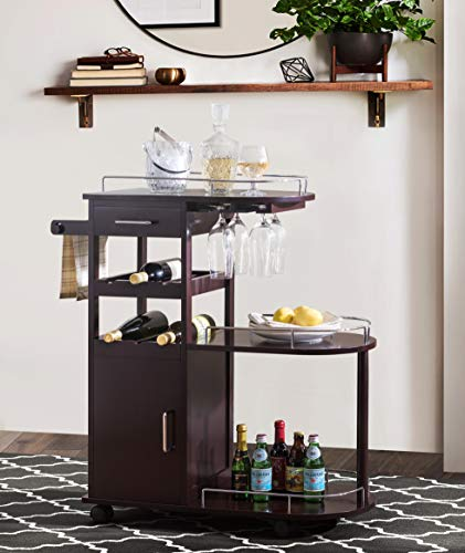 2L Lifestyle Sherwood Bar Entertainment Cart, Small, ()
