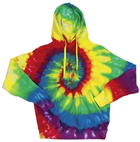 Men's Retro Tie Dye Hoodie Sweatshirt, 2XL Rainbow ()