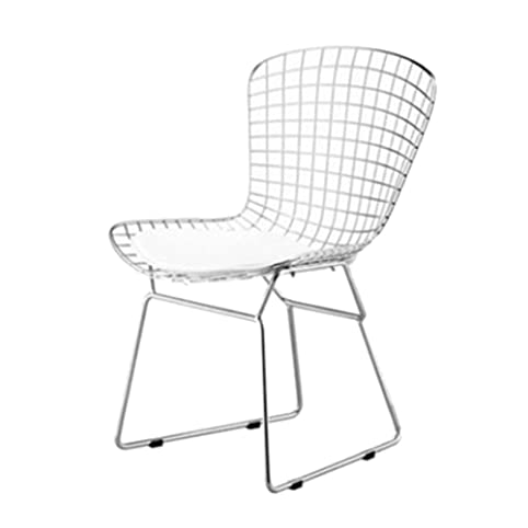Designer Modern Bertoia Style Wire Side Chair In White