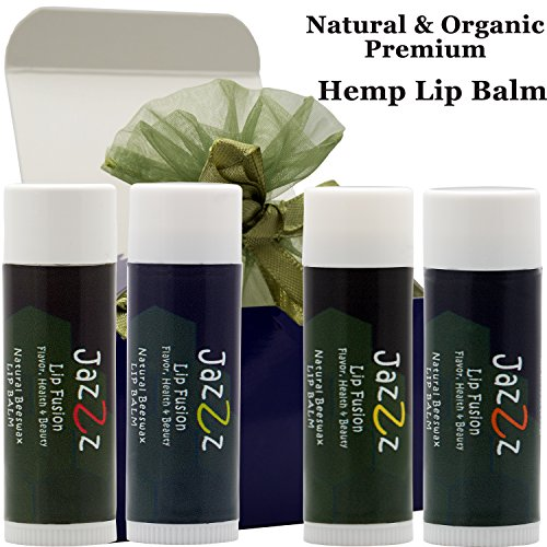 Natural Lip Balm-Exotic Flavored Chapstick (4pc) Organic Hemp Lip Balm Great Lip Conditioner for Chapped Lips.Natural Chapstick is Top Gift for Women,Men.Unique Gift Idea & Great Birthday Gift Set
