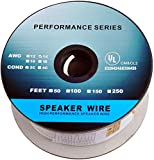 C&E 50 Feet 14AWG CL2 Rated 2-Conductor Loud Speaker Cable (For In-Wall Installation)