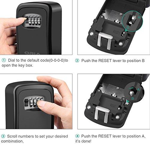 ORIA Key Storage Lock Box, Wall Mounted Key Lock Box With 4-Digit  Combination, Holds up to 5 Keys, for House Keys or Car Keys, Black