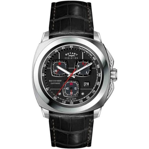 Rotary Evolution - Reloj cronógrafo de caballero de cuarzo con correa de piel negra (cronómetro