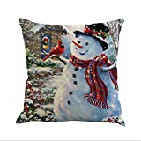 Throw Pillow Covers Merry Christmas Notekd Christmas Snowman Cushion Cover Case Pillow Custom Zippered Square Home Decor Pillowcase 18x18 for Sofa Bed Room (D)