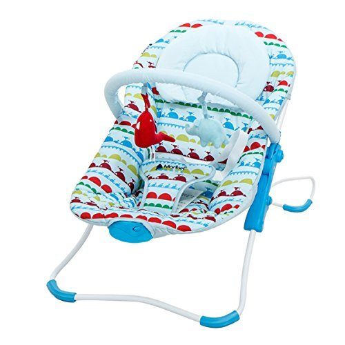 Infant Rocking Chair,Baby Rocking Bouncer with Cradle Music,Calming vibration (Blue)