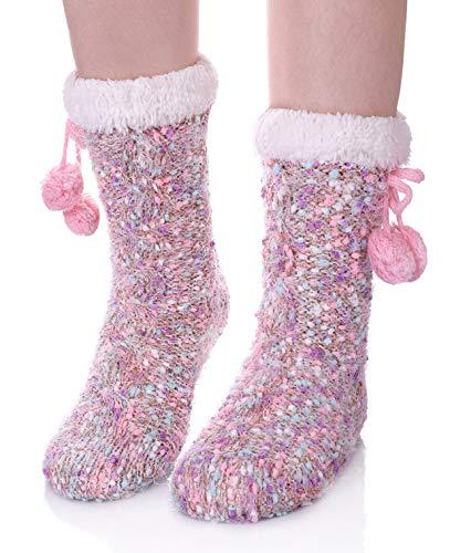 LANLEO Womens Cute Cartoon Animal Fuzzy Slipper Socks Winter Soft Warm Fleece Lining Knit Home Socks With Grippers Pink