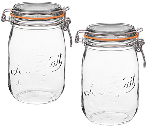 2 Le Parfait Super Jars - Wide Mouth French Glass Preserving Jars - Zero Waste Packaging (2, 1000ml - 32oz - Quart) (Salsa Seeds Tomato)